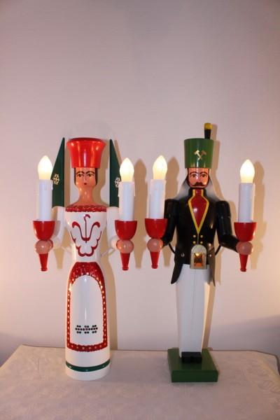 Engel und Bergmann, bunt, elektrisch beleuchtet jede Figur hat einen eigenen Trafo, 50 cm von Nestler-Seiffen.com OHG Seiffen/ Erzgebirge