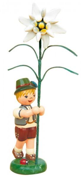Blumenkinder - Blumenkind Junge mit Edelweiß, 11 cm von Hubrig Volkskunst GmbH Zschorlau/ Erzgebirge