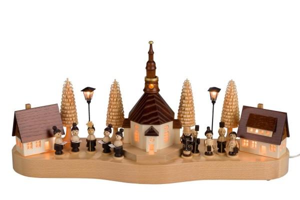 Sockelbrett von Nestler-Seiffen mit einem mittleren Seiffener Dorf und Lampionkinder_Bild1