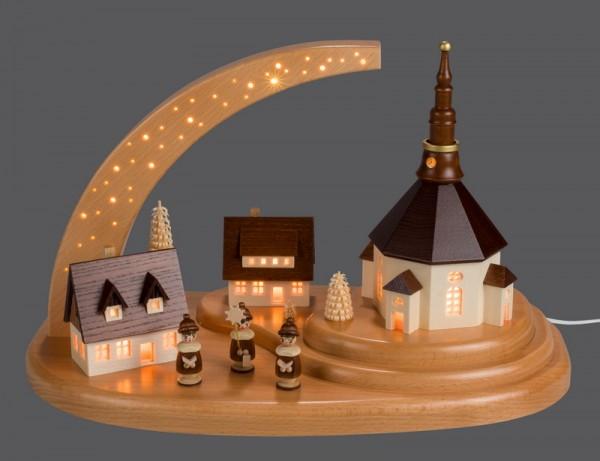 Sockelbrett Seiffener Dorf und Kurrende mit Sternenhimmel, komplett elektrisch beleuchtet, 12 V mit Trafo, 19 x 17 cm, Nestler-Seiffen.com OHG Seiffen/ …