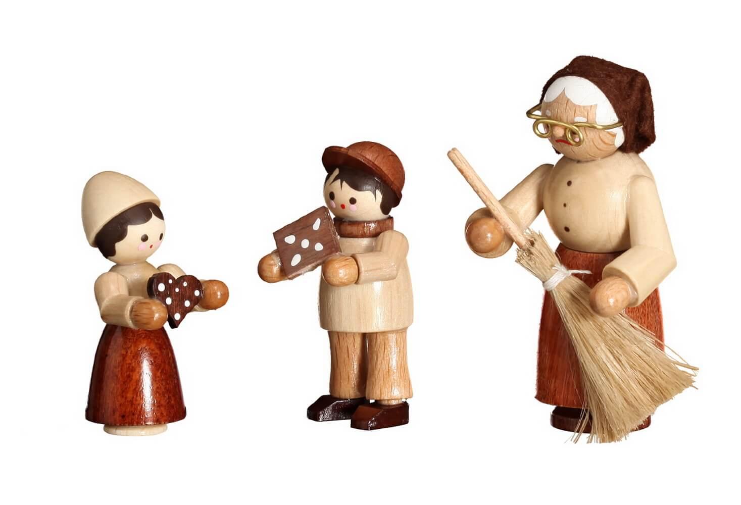 """Hänsel, Gretel & Hexe in natur von Romy Thiel Deutschneudorf/ Erzgebirge. Knusper, knusper, knäuschen, wer knuspert an meinem Häuschen!"""" Diese Figuren …"""
