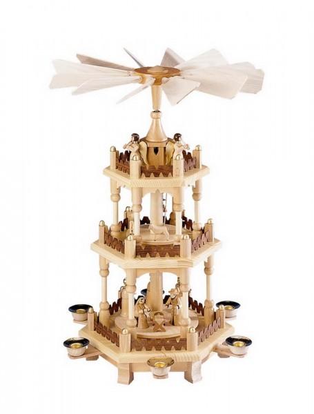 Weihnachtspyramide, 3 - stöckig mit Heiliger Familie, 45 cm von Theo Lorenz. Auf der unteren Ebene dreht sich die Heilige Familie mit dem Kind auf der 2. …