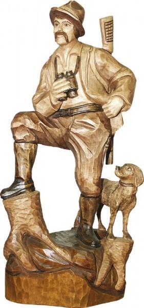 Förster mit Jagdhund, gebeizt, geschnitzt, in verschiedenen Größen