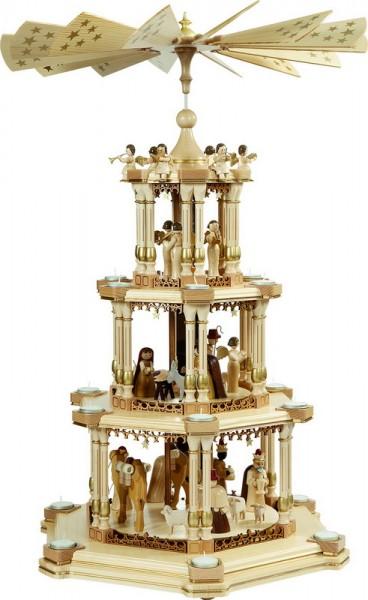 Weihnachtspyramide Barocke Spiegelpyramide Christi Geburt, 3 - stöckig, natur, 86 cm, Richard Glässer GmbH Seiffen/ Erzgebirge