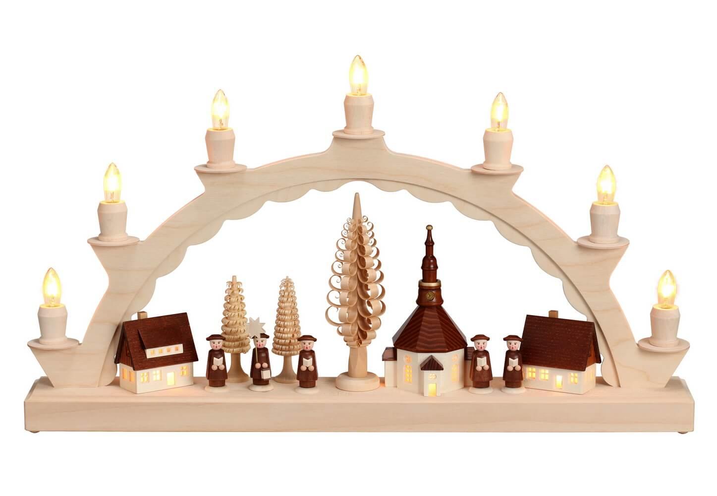 Schwibbogen mit dem Motiv Seiffener Dorf mit Kurrende, komplett elektrisch beleuchtet von Nestler-Seiffen_Bild1