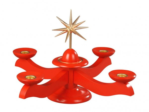Albin Preißler Adventsleuchter mit Weihnachtsstern, rot
