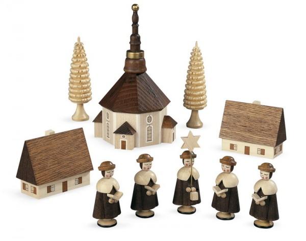 Kurrende Seiffener Kirche, natur, 4,5 cm, Müller GmbH Kleinkunst aus dem Erzgebirge