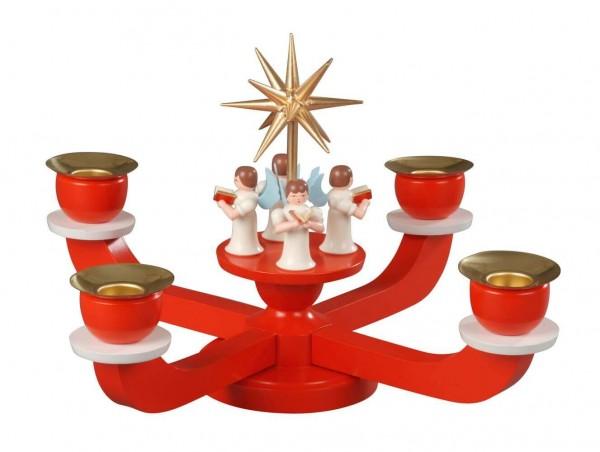 Albin Preißler Adventsleuchter mit 4 stehenden Engeln, rot