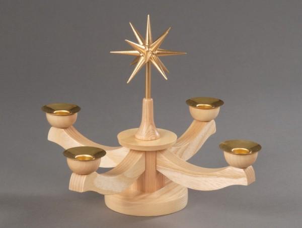 Adventsleuchter, natur - Weihnachtsstern, Adventsleuchter aus massivem Buchenholz, natur, Stern in Handarbeit gefertigt, bronzefarbig lackiert , natur, …