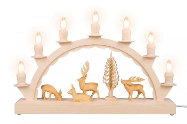 Schwibbogen mit geschnitzen Hirschen von Nestler-Seiffen