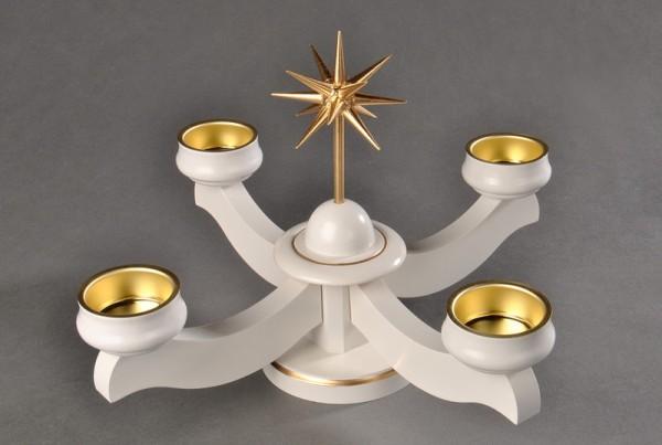 Adventsleuchter, weiß - Weihnachtsstern für Teelichter, aus massivem Buchenholz, weiß lackiert, Stern handgefertigt, bronzefarbig lackiert, 22 x 22 x 19 cm, …