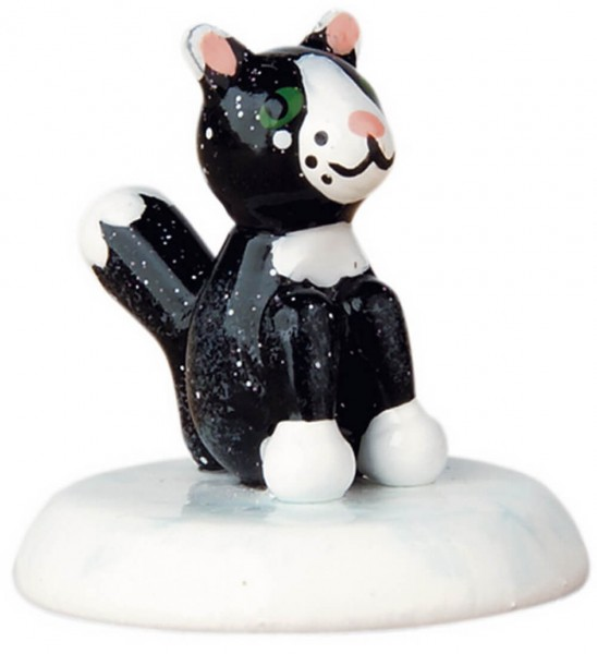 Winterkind 6 er Set Katze - schwarz von Hubrig Volkskunst GmbH Zschorlau/ Erzgebirge ist 3 cm groß.