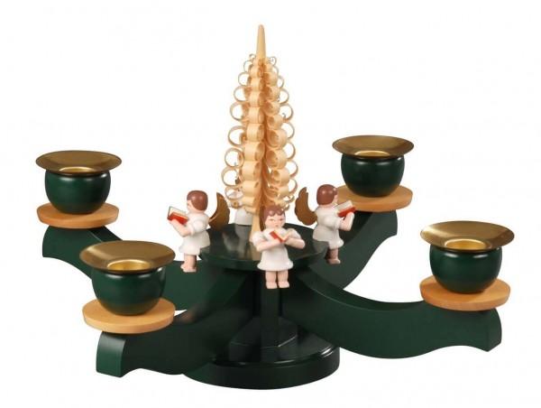 Albin Preißler Adventsleuchter mit 4 sitzenden Engeln, grün