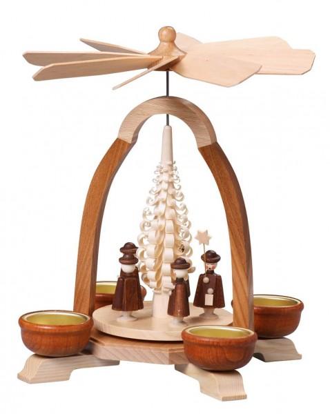 Weihnachtspyramide mit Kurrende für Teelichte, 24 cm von Thomas Preißler Seiffen/ Erzgebirge