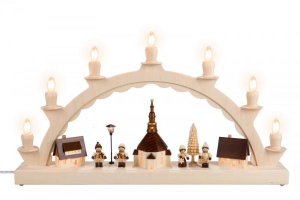 Schwibbogen Lampionkindern, beleuchteter Straßenlaterne und beleuchteter Kirchturmuhr, komplett elektrisch beleuchtet, 50 x 28 cm, Nestler-Seiffen.com OHG …