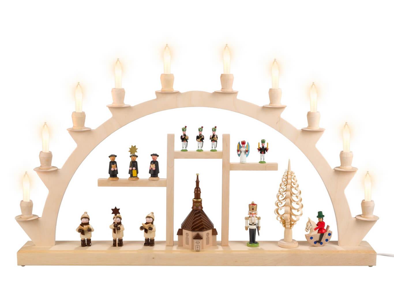 Schwibbogen von Nestler-Seiffen Souvenir III, elektrisch beleuchtet mit Kleinschaftkerzen_Bild1