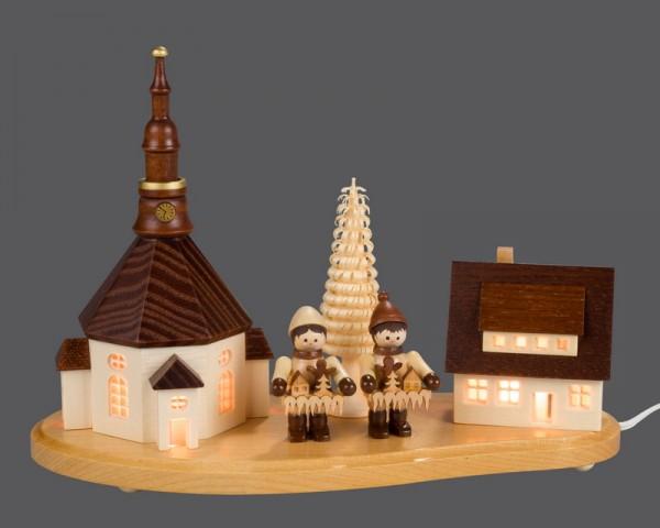 Sockelbrett Seiffener Dorf mit 3 Striezelkindern, klein, komplett elektrisch beleuchtet, 20 x 8 x 14 cm von Nestler-Seiffen.com OHG Seiffen/ Erzgebirge
