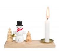 Vorschau: Weihnachtskerzenhalter Schneemann, 15 x 4 cm von Nestler-Seiffen.com OHG Seiffen/ Erzgebirge