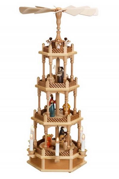 Weihnachtspyramide, 4 - stöckig mit Heiliger Familie, elektrisch beleuchtet und angetrieben, 72 cm. Auf der unteren Ebene dreht sich die Heilige Familie mit …