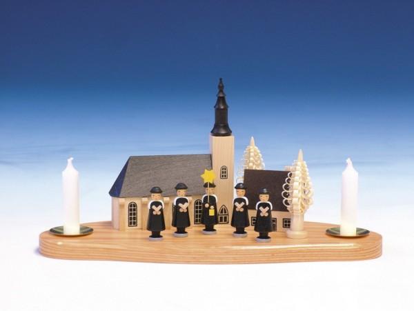 Weihnachtskerzenhalter Kurrende mit Schneeberger Kirche auf Sockel, 15 x 30 cm, Knuth Neuber Seiffen/ Erzgebirge