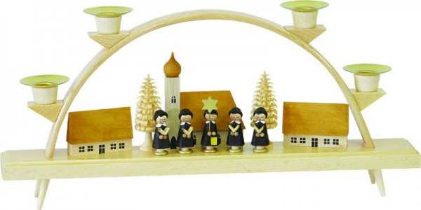 Schwibbogen Kurrende mit Dorf, 15 cm x 32 cm, Richard Glässer GmbH Seiffen/ Erzgebirge