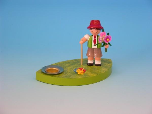 Kerzenhalter Blumenkinder Junge, grün 7,0 cm von Frieder & André Uhlig Seiffen/ Erzgebirge