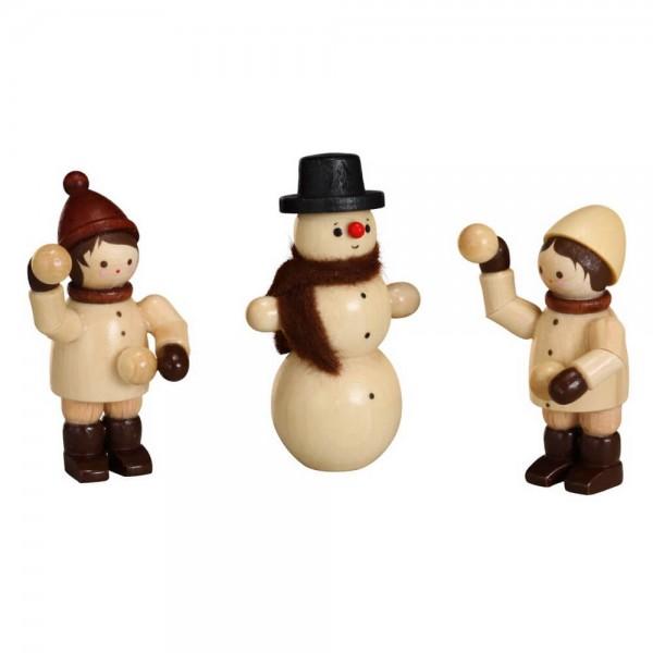 Die beiden Schneeballwerfer und der Schneemann, ein 3-teiliger Satz in natur von Romy Thiel Deutschneudorf/ Erzgebirge. Das ist ein toller Schneemann …