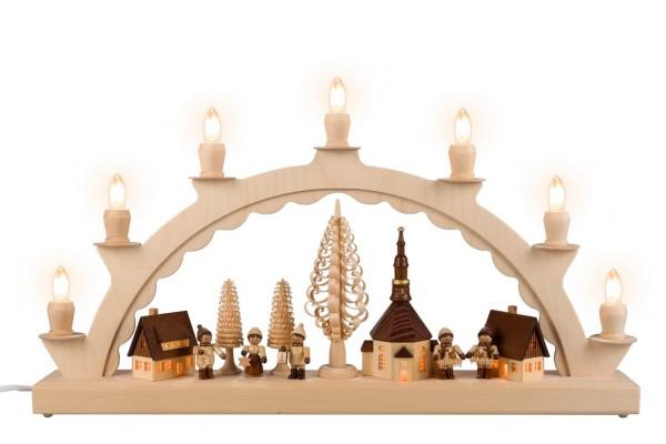 Schwibbogen von Nestler-Seiffen mit dem Motiv Seiffener Dorf mit Romy Thiel Kinder, komplett elektrisch beleuchtet_Bild1