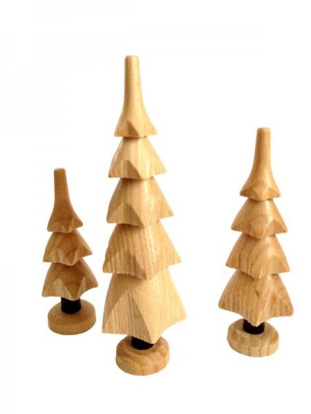 Bäume, 3 Stück, natur, 11 cm, 9 cm, 7 cm, Spielwarenmacher Günther Seiffen/ Erzgebirge