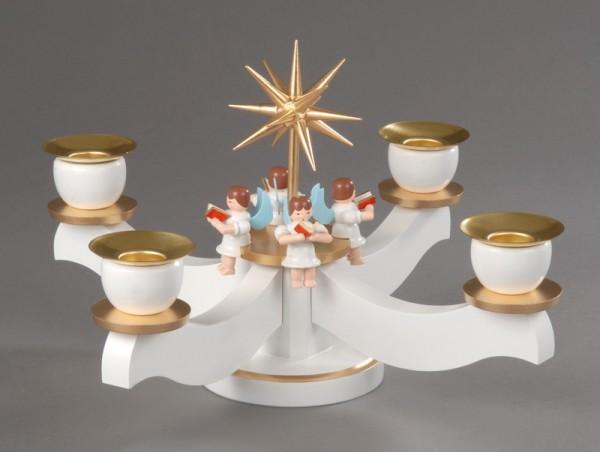 Adventsleuchter, weiß/bronze - 4 sitzende Engel, Adventsleuchter aus massivem Buchenholz, weiß/bronze; lackiert, Engel mit Gesangbuch gedrechselt, in …