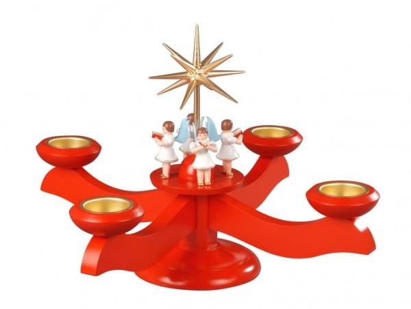 Adventsleuchter mit 4 stehenden Engeln, rot hergestellt von Albin Preißler