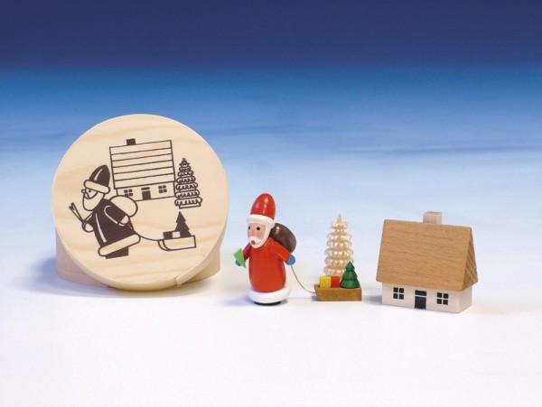 Spanschachtel mit Weihnachtsmann, 8 cm, Knuth Neuber Seiffen/ Erzgebirge