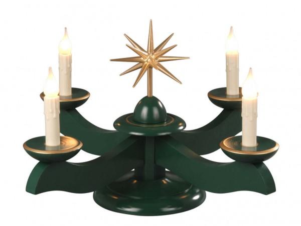 Albin Preißler Adventsleuchter mit Weihnachtsstern, grün, elektrisch beleuchtet