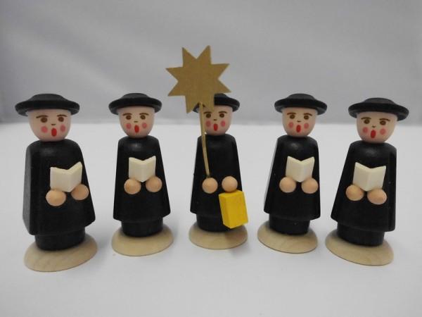 Weihnachtsfiguren Kurrende, schwarz, 5 Stück, 7 cm und 5 cm, Nestler-Seiffen.com OHG Seiffen/ Erzgebirge