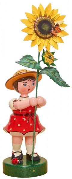 Mädchen mit Sonnenblume aus Holz aus der Hubrig Serie Blumenkinder