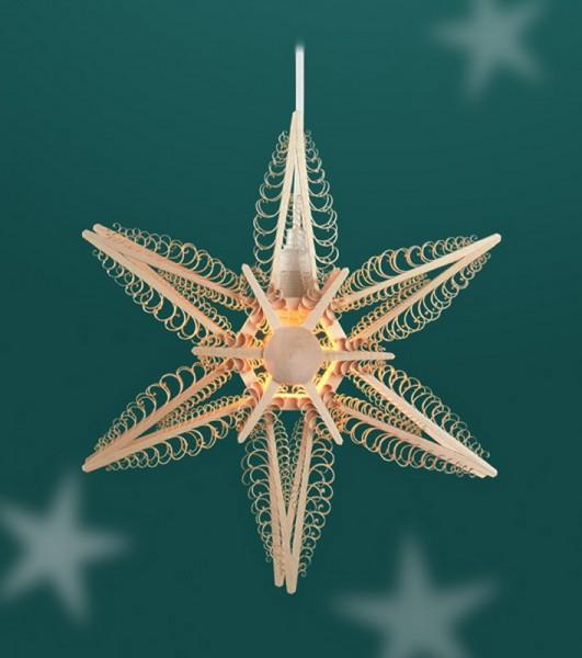 Fensterschmuck Holzstern - mit 6 Spanbäumchen, elektrisch beleuchtet, elektrisch beleuchtet, Durchmesser 32 cm, Martina Rudolph Seiffen/ Erzgebirge