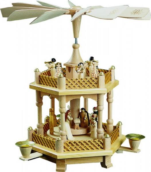 Weihnachtspyramide Christi Geburt, 1 - stöckig, natur, 33 cm, Richard Glässer GmbH Seiffen/ Erzgebirge