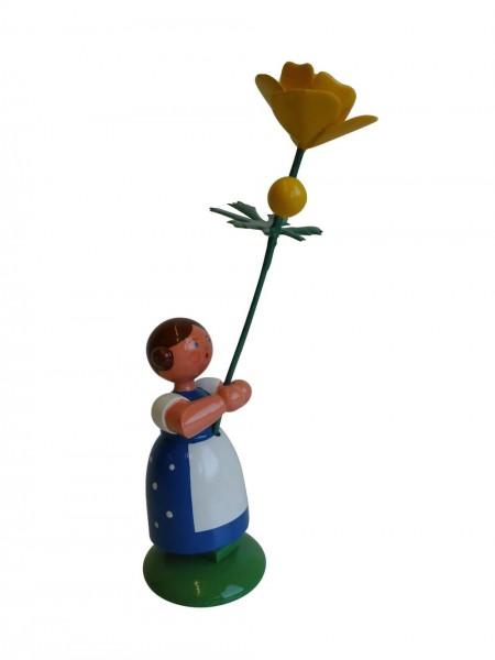 Blumenkinder - Feld- und Wiesenblumenkind Mädchen mit Trollblume, 11 cm von WEHA-Kunst Dippoldiswalde/ Erzgebirge