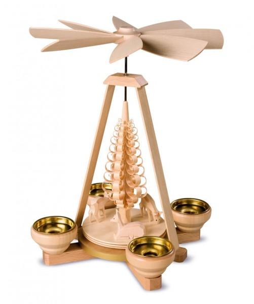 Weihnachtspyramide von Müller Kleinkunst mit dem Motiv geschnitze Rehe, 1 - stöckig, natur mit Teelichter, 24 cm, _Bild2