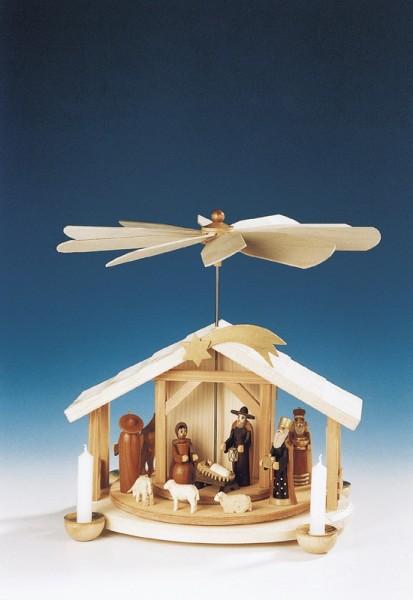 Weihnachtspyramide mit Christi Geburt, natur, 30 cm, Knuth Neuber Seiffen/ Erzgebirge