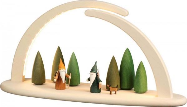LED Schwibbogen, doppelt Wichtel im Wald von Seiffener Volkskunst eG