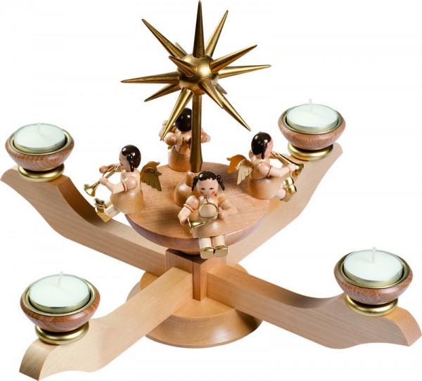 Adventsleuchter mit Weihnachtsengel, natur für Teelichter, 24 cm, Richard Glässer GmbH Seiffen/ Erzgebirge