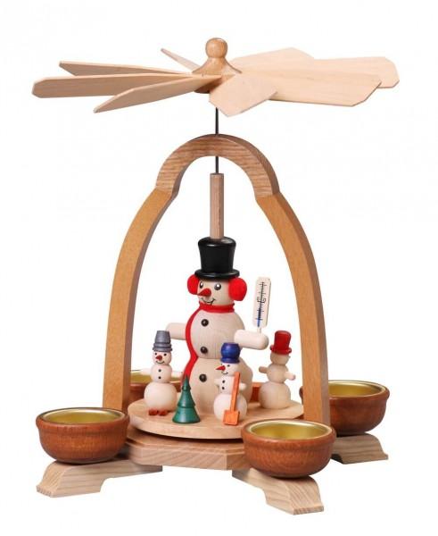 Weihnachtspyramide mit Schneemann für Teelichte, 24 cm von Thomas Preißler Seiffen/ Erzgebirge Höhe: ca. 24 cm Betrieb mit Teelichte Material: heimische …