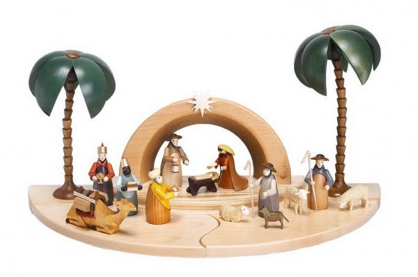 Sockelbrett Krippenhaus Grotte, 15 - teilig mit einer Weihnachtskrippe und Stall und verschiedenen Figuren (9 cm) aus der heiligen Geschichte > Die Heilige …