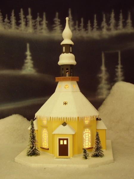 Lichterhaus Seiffener Kirche, elektrisch innenbeleuchtet , 26 x 42 x 32 cm, Birgit Uhlig Olbernhau/ Erzgebirge
