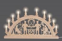 Vorschau: Schwibbogen mit Schwarzenberger Motiv elektrisch beleuchtet mit 10 Kleinschaftkerzen von Nestler-Seiffen_Bild3