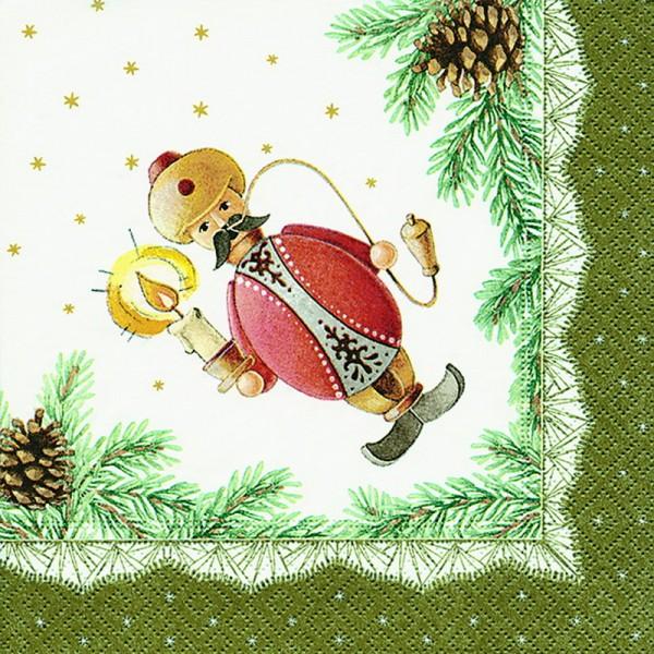 Weihnachtsservietten mit Räuchermannmotiv, 20 Stück, 3 - lagig, 33 x 33 cm