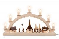 Vorschau: Schwibbogen Seiffener Dorf mit Kurrende und beleuchter Straßenlaterne und Kirchturmbeleuchtung, komplett elektrisch beleuchtet, 50 x 28 cm, …
