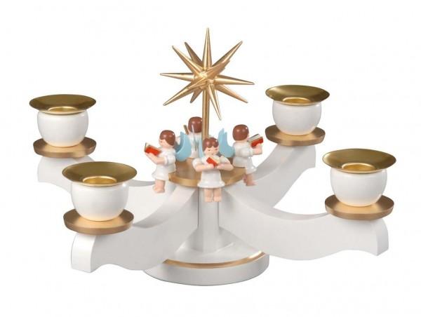 Albin Preißler Adventsleuchter mit 4 sitzenden Engeln, weiß/bronze