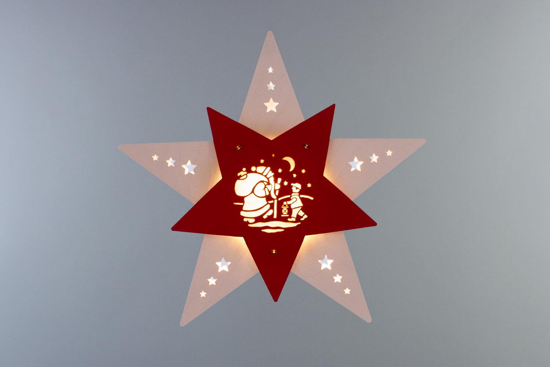 Weihnachtlicher Fensterschmuck & beleuchtetes LED Fensterbild Stern Knecht Ruprecht, weiß/rot, elektrisch beleuchtet, 30 x 29 x 6 cmvon Weigla - Günter …